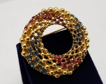 CINER Red And Blue Stone Circle Pin