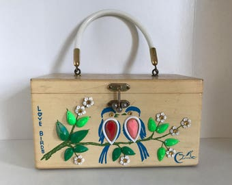 "Enid Collins / Collins of Texas. ""Love Birds"" box purse."
