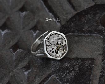 Industrial Signet Ring - Mechanical Silver Sterling, 'HEX', Watch Ring, Unique Statement Ring, Men's, Women's, Unisex