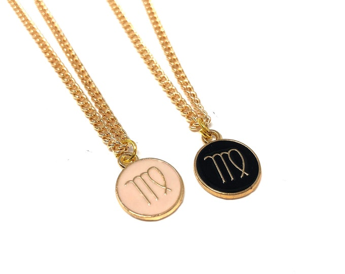 ZODIAC: astrological sign necklace in pink or black
