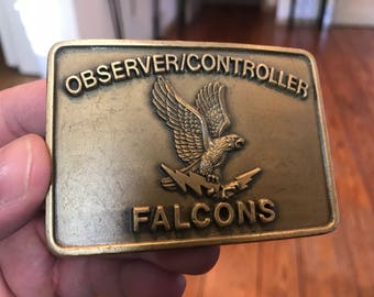 Vintage Observer Controller Falcons Brass Belt Buckle . Vintage brass buckle . Antique belt buckle . Observer Controller Falcons buckle