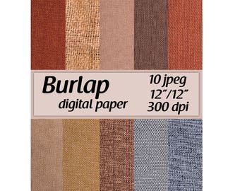 Burlap Digital Paper Burlap texture Instant download Burlap Digital Paper Pack Burlap pattern Burlap background Printable Burlap