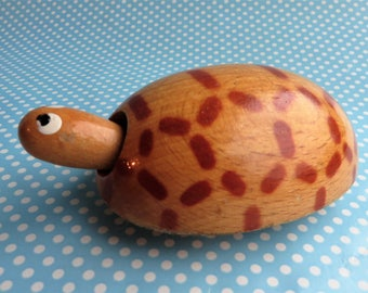 Vintage wooden tortoise push along toy