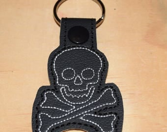 Skull N Crossbones key fob key chain zipper pull bag tag.