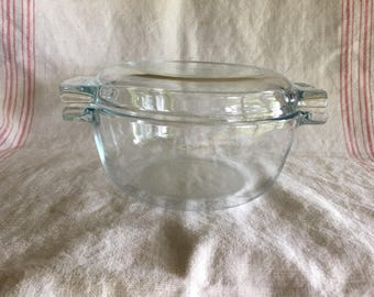 Vintage French Pyrex de Corning Covered Casserole Dish, Refrigerator Dish, Mid Century Kitchen Ware