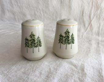 Vintage Porcelain Evergreen Tree Salt Pepper Shakers, Snowy Green Trees, Winter Decor