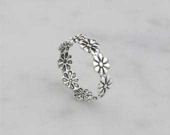 Simple Daisy Chain 925 Sterling Silver Toe Ring - Adjustable! Oxidised, Simple