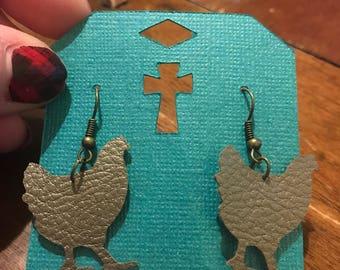 Faux leather chicken earrings