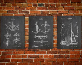 Sailboat Art, Nautical Wall Art, Patent Print Group, Patent Print Set, Yacht Art, Nautical Blueprint, Boat Captain Gift Set of 3