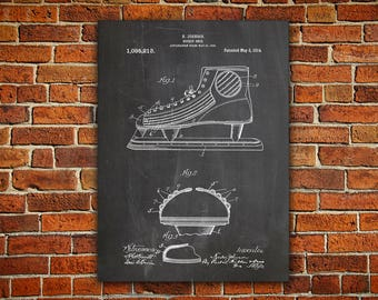 Hockey Skate Canvas painting, Hockey Art Print, Hockey Decor, Hockey Wall Art, Hockey Patent Print, Hockey Patent Poster,Hockey Coach Gift