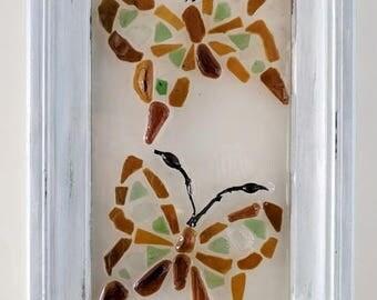 Sea glass butterfly duo