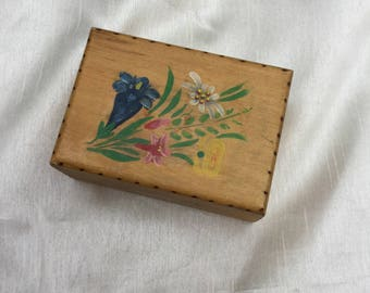 Vintage Hand Painted Floral Wooden Box
