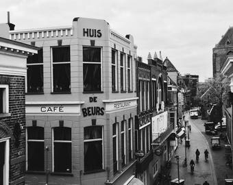 GRONINGEN fish market, House the stock exchange, street life from above. Black and white, Hoogland or matte photo paper.