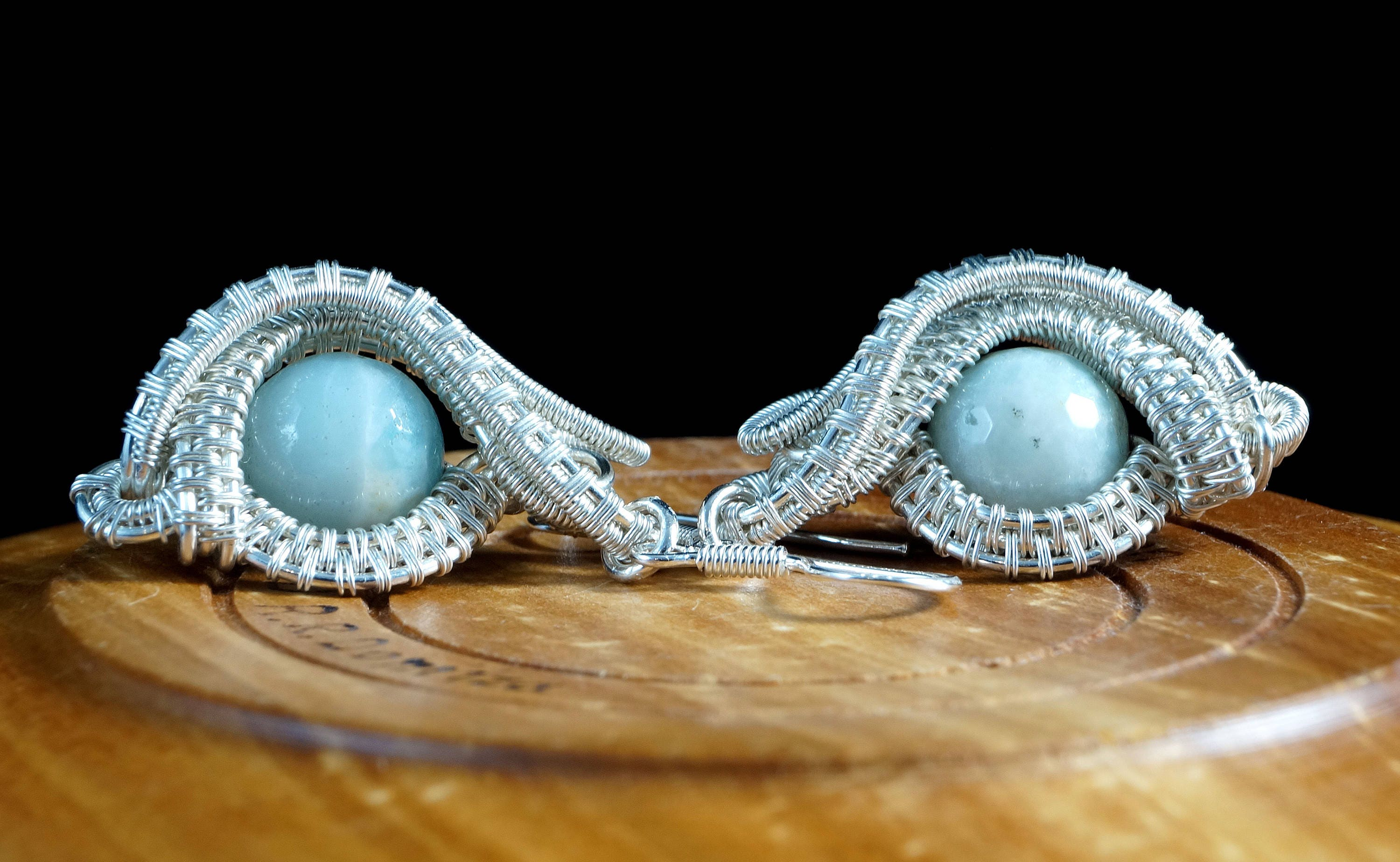 Evil Eye / Silver plated copper wire earrings with Amazonite