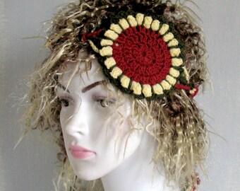Crochet Sunflower Dreadband Headband Dread Wrap Hair band Head Band Dred Hat Hippy Flower Women Accessories Hippie Boho Bohemian