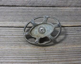 Vintage oblong spigot or faucet handle, interesting aluminuml handle. Garden, faucet, faucet handle, handle, spigot handle, oblong