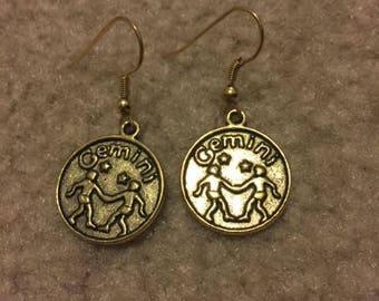 "Gold charm earrings ""gemini"""