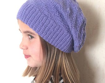 Falling Beanie, slouchy young teen hand knit 12 years and up, purple
