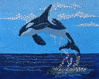 Orca Whale.  Creative painting, original made of acrylic on cotton canvas. Cheerful, colourful, animal motif. Modernist style.