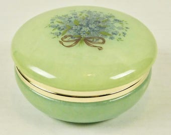 Vintage Pale Green Alabaster Vanity Dresser Powder Trinket Jewelry Jar Blue Pansy Flower Bow Hinged Lid Bathroom She Shack