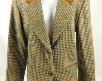 International Scene Made in Russia Ladies Vintage Brown Blue Green Plaid Blazer Jacket Suede Collar Size 7/8 Riding Equestrian Lined