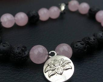 Gem stone bracelet with lotus pendant