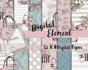 Digital Paper, Digital Fashion Paper, Digital Scrapbook Paper, Watercolor Fashion Paper, 8.5 x 11 Scrapbook Paper. No. P201