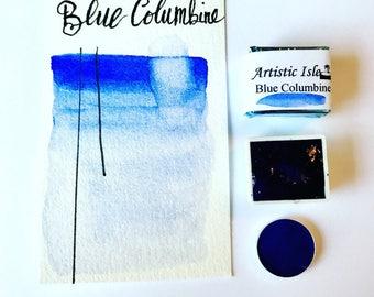 Blue Columbine, colorado, mountain, handmade watercolor, watercolor, art, blue, snowflake, sky