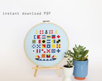 Sailors Alphabet - Easy DIY cross stitch pattern - Beginners cross stitch pattern