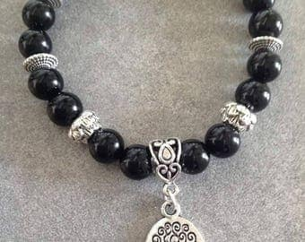 Energized bracelet Protection and well-being in black onyx and silver tree of life pendant