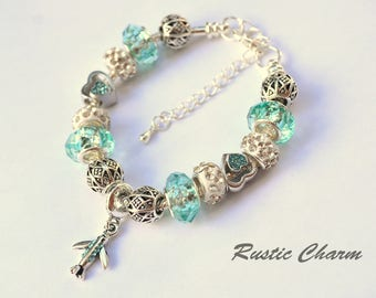 Silver Plated Light Blue Airplane European Style Bracelet with Hearts
