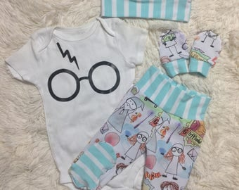 Unisex Harry Doodle onesie set - Baby boy newborn going home set -potter baby outfit- baby boy newborn set - baby boy girl outfit set -