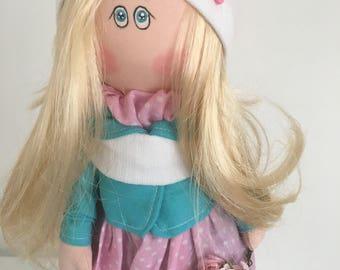 Handmade Soft Textile Fabric Doll Tilda Christmas Present Gift Home Decoration