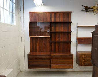 308-121.1 Danish Mid Century Modern Rosewood Wall System by Poul Cadovius
