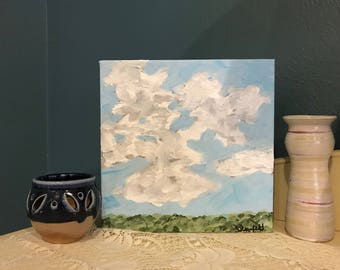 """Original Handpainted Landscape Painting on Mini 8""""x8"""" Gallery Wrapped Canvas"""