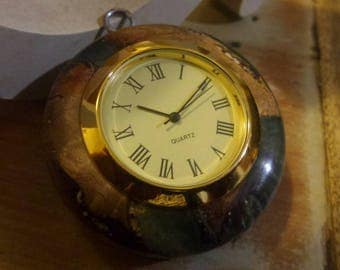Blue secret wood pocket watch wood watch