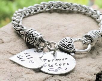 Sisters Bracelet, Sisters Charm Bracelet, Sister Gift Ideas, Sisters Jewelry,  Link Bracelet Charm, Silver Bracelet Charm, Free Shipping