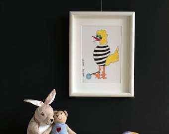 Limited Edition. Bird. Cheerful color print of marker drawing. ' Jailbird '