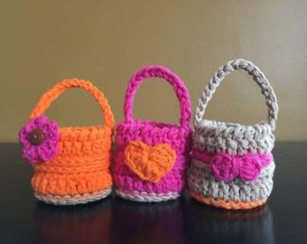 Set of three cotton mini baskets, valentine mini baskets, Easter mini baskets, small baskets, small Easter baskets, small valentine basket