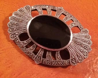 sterling silver/ marcasite /and black onyx/ pendant /brooch