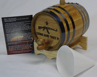 Engraved 2 Liter Charred American White Oak Aging Barrel (Come & Take It)