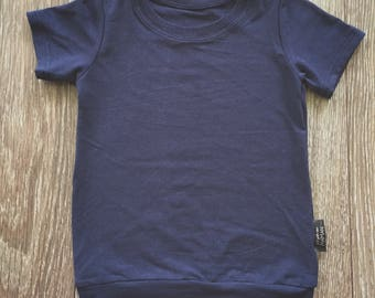 Navy plain T-shirt, bamboo for babies and children