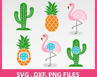 flamingo SVG, pineapple Svg, cuctas Svg DXF, PNG Formats, cut file, clip art 0066