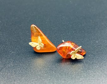 Cute Baltic amber earrings with silver butterfly on, amber earrings, butterfly earrings