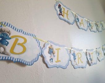 Smurfs Birthday Banner,Smurfs Party Decor, Smurfs Banner, Birthday Banner