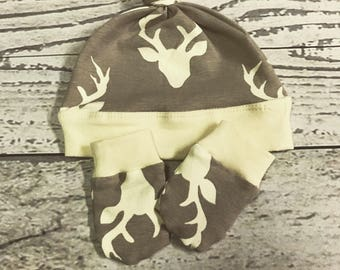 Baby Deer Hat and No Scratch Mittens