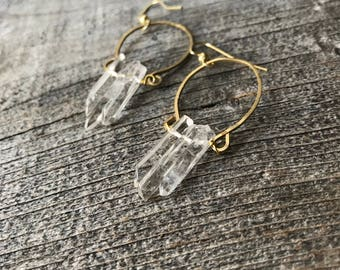 Quartz Crystal Harp Hoops