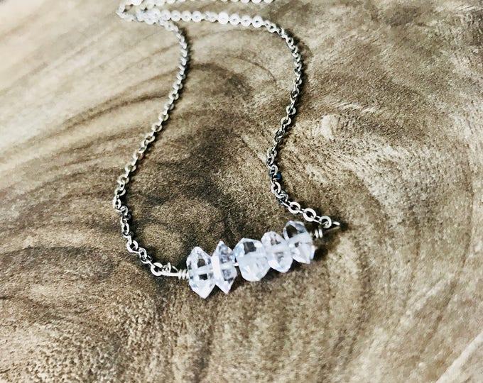 Silver Herkimer Diamond Necklace