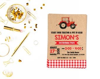 Red Tractor Invitation,Tractor Invitation, Tractor Birthday Invitation, Tractor Party, Farm Birthday, Tractor invite,construction invite