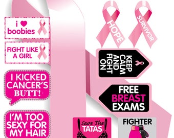 Breast Cancer Props | Breast Cancer Signs | Photo Booth Props | Prop Signs